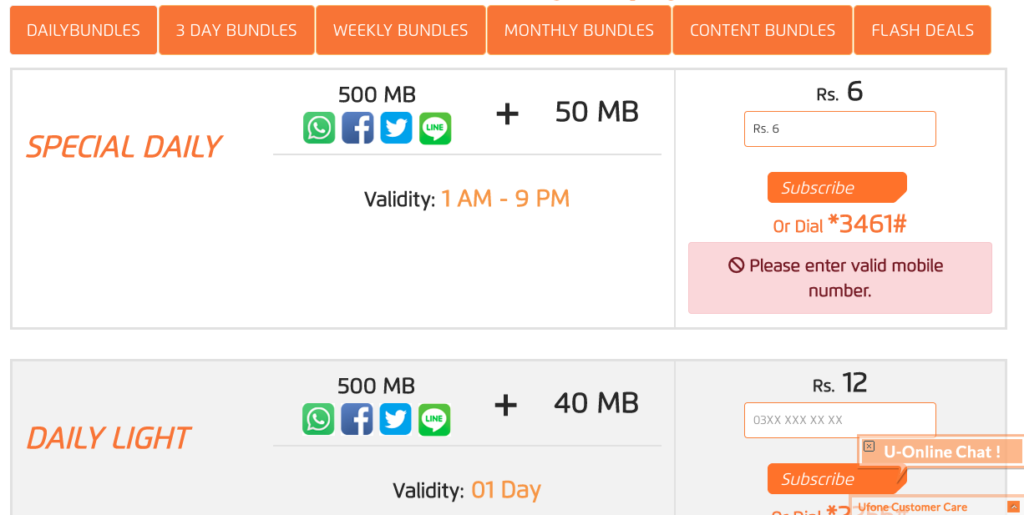 latest ufone whatsapp packages